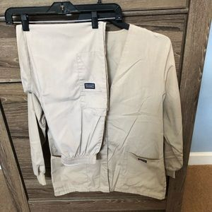 Cherokee khaki LS jacket and elastic pants Small